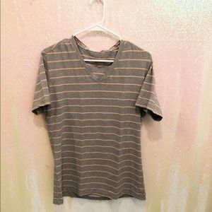 LuLuLemon Gray & pink striped vneck